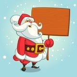Ilustração dos desenhos animados do vetor do Natal de Santa Claus que guarda uma placa do sinal Foto de Stock Royalty Free