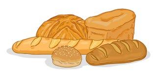 Ilustração dos desenhos animados do vetor - pilha de artigos do pão imagens de stock royalty free