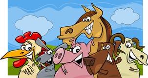 Ilustração dos desenhos animados dos animais de exploração agrícola ilustração royalty free