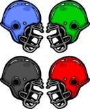 Ilustração dos desenhos animados dos capacetes de futebol Fotografia de Stock