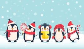 Ilustração dos desenhos animados dos pinguins ilustração royalty free