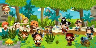 Ilustração dos desenhos animados - piratas na ilha selvagem Fotos de Stock Royalty Free