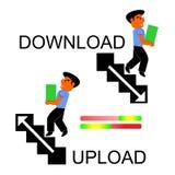 Ilustração dos desenhos animados que descreve o processo de transferência e de transferência de arquivo pela rede ilustração stock