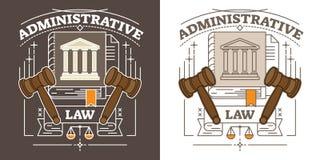 Ilustração dos direitos administrativos do vetor Visualização com a escala do martelo, do tribunal e da justiça Símbolo da autori ilustração royalty free