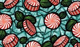 Ilustração dos doces com as folhas de hortelã no fundo do cubo de gelo Fotografia de Stock Royalty Free