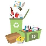 Ilustração dos escaninhos de reciclagem com lixo Fotografia de Stock Royalty Free