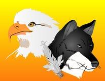 Ilustração dos espírito do lobo e da águia Fotos de Stock Royalty Free