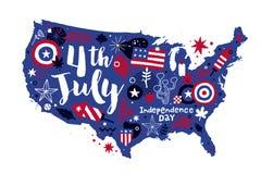 A ilustração dos EUA traça com elementos florais e patrióticos abstratos 4 de julho molde do Dia da Independência ilustração do vetor