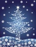 Ilustração dos flocos de neve da silhueta da árvore de Natal Fotografia de Stock Royalty Free