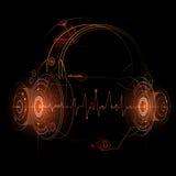 Ilustração dos fones de ouvido com batidas da onda sadia ilustração stock