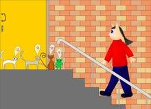 Ilustração dos gatos que esperam seu proprietário ilustração stock