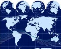 Ilustração dos globos com mapa de mundo Foto de Stock Royalty Free
