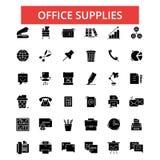 Ilustração dos materiais de escritório, linha fina ícones, sinais lisos lineares Foto de Stock Royalty Free