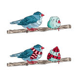 a ilustração dos mesmos pássaros aquece-se vestido e despido ilustração stock