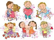 Ilustração dos miúdos com amor Fotografia de Stock