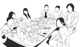 Ilustração dos multi estudantes étnicos dos povos que têm a celebração do partido de jantar em preto e branco ilustração do vetor