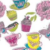 Ilustração dos pássaros, flores, queques, copos de chá Imagem de Stock