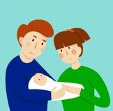 Ilustração dos pares com bebê Conceito da maternidade, do amor e do cuidado Imagem de Stock