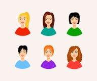 Ilustração dos penteados diferentes Caras de sorriso da mulher no estilo dos desenhos animados Imagens de Stock