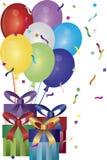 Ilustração dos presentes e dos balões do feliz aniversario Foto de Stock