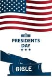Ilustração dos presidentes Dia O presidente jura pela Bíblia Fotografia de Stock