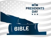 Ilustração dos presidentes Dia O presidente jura pela Bíblia Silhueta azul da mão na Bíblia Imagens de Stock