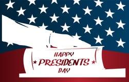 Ilustração dos presidentes Dia O presidente jura pela Bíblia Silhueta branca da mão na Bíblia Imagens de Stock