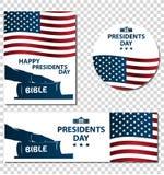 Ilustração dos presidentes Dia O presidente jura pela Bíblia Silhueta da mão na Bíblia Foto de Stock Royalty Free