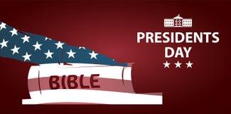 Ilustração dos presidentes Dia O presidente jura pela Bíblia Silhueta da mão na Bíblia ilustração royalty free