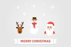 Ilustração dos símbolos do Natal Cartão do vetor no estilo liso Imagens de Stock