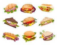 Ilustração dos sanduíches do vetor ilustração do vetor