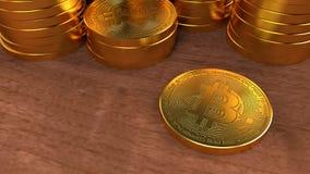 Ilustração dourada da rendição da moeda 3D de Bitcoin Moeda de Digitas ilustração royalty free