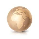 Ilustração dourada Europa e África do globo 3D Fotos de Stock Royalty Free