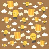 Ilustração e fundo criativos da ideia com lâmpadas e lápis Imagem de Stock