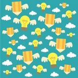 Ilustração e fundo criativos da ideia com lâmpadas e lápis Fotos de Stock