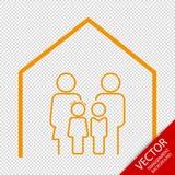 Ilustração editável do vetor da família em casa - linha lisa ícone - - isolada no fundo transparente Fotos de Stock