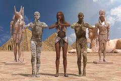 Ilustração egípcia da mulher e das mamãs 3D ilustração do vetor