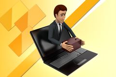 ilustração em linha da entrega do homem 3d Fotos de Stock