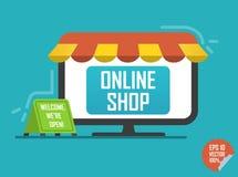 Ilustração em linha da loja Portátil com o toldo para o Web site ou a aplicação móvel ilustração do vetor