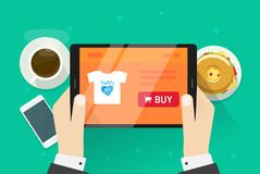 Ilustração em linha do vetor da compra, pessoa lisa do projeto dos desenhos animados que compra algo na loja do Internet, ideia d ilustração stock