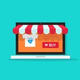 Ilustração em linha do vetor da loja, parte dianteira em linha da loja do Internet do estilo liso no laptop ilustração royalty free