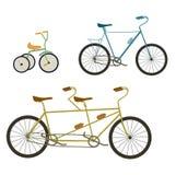 Ilustração em tandem da bicicleta e da bicicleta no fundo branco Imagens de Stock