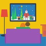 Ilustração em um estilo liso com a televisão de observação dos pares Imagem de Stock