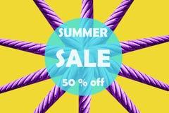 Ilustração em uma venda minimalistic do verão do estilo Ideia criativa da venda imagem de stock