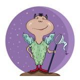 Ilustração engraçada Caráter engraçado com uma borboleta-rede Fotografia de Stock