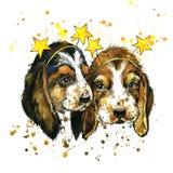 Ilustração engraçada da aquarela do cão de cachorrinho ilustração do vetor