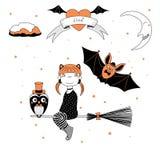 Ilustração engraçada da bruxa, da coruja e do bastão ilustração royalty free