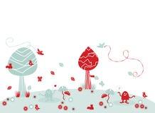 Ilustração engraçada da paisagem ilustração royalty free