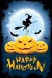 Ilustração engraçada de Dia das Bruxas com bruxa foto de stock royalty free