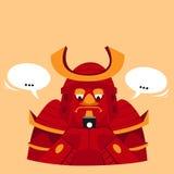Ilustração engraçada do vetor Texting do samurai Fotos de Stock